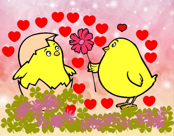 Dibujo de Pollitos enamorados pintado por Sinaiv en Dibujos.net el ...