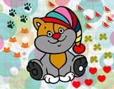 Dibujo Gato con gorro pintado por guadaluz