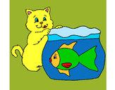 Dibujo Gato y pez pintado por alex1111