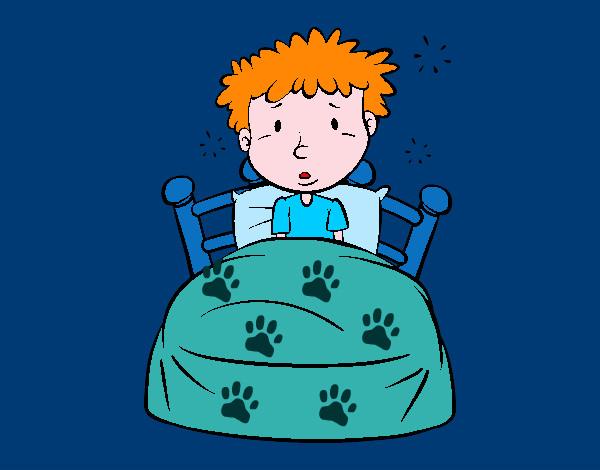 Dibujo de ni o en la cama pintado por queyla en dibujos - Cama de coche para nino ...
