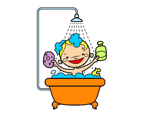 Regaderas De Baño Para Ninos:Dibujo de Niño en la ducha pintado por Chuleti en Dibujosnet el