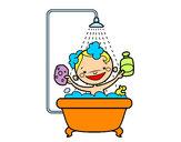 Dibujo Niño en la ducha pintado por Chuleti