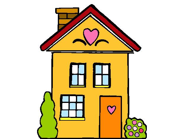 Dibujo de casa con corazones pintado por olmo en el d a 20 03 15 a las 18 33 45 - Imagenes de casas para dibujar ...