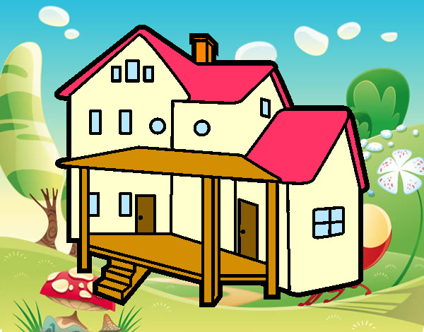 Dibujo de casa con porche pintado por francisco3 en el d a 19 03 15 a las 22 43 37 - Imagenes de casas para dibujar ...