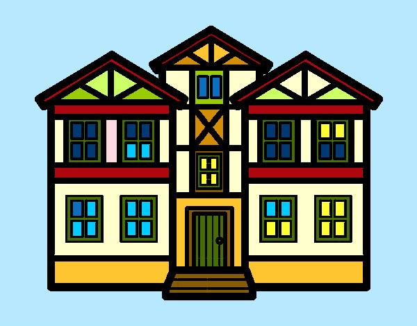 Dibujo de casas pintado por queyla en el d a for Dibujos en techos de casas