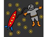 Dibujo Cohete y astronauta pintado por alejus3