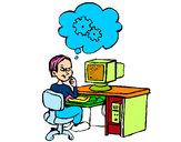 Dibujo Informático pensando pintado por janet_arab