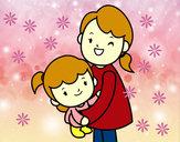 Dibujo Abrazo con mamá pintado por lizcabaest