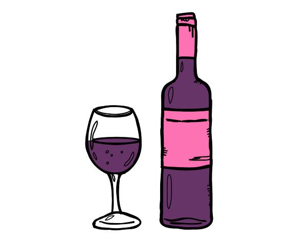 Dibujo De Botella De Vino Y Copa Pintado Por Xcchfgh En