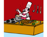 Dibujo Cocinero en la cocina pintado por marileny