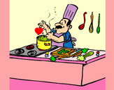 Dibujo Cocinero en la cocina pintado por queyla