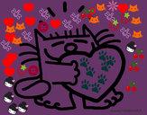 Dibujo El gato y el corazón pintado por fresitaRoc