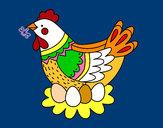 Dibujo Gallina con huevos de Pascua pintado por queyla
