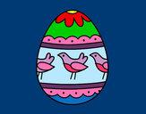 Dibujo Huevo de Pascua con pájaros pintado por queyla