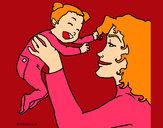 Dibujo Madre con su bebe 1 pintado por secayean