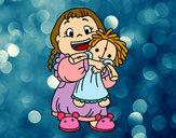 Dibujo Niña con su muñeca pintado por DaisyLinda
