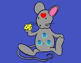 Dibujo Rata con queso pintado por Anto05