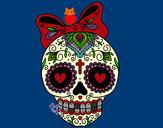Dibujo Calavera mejicana con lazo pintado por queyla
