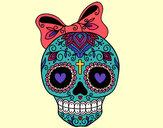 Dibujo Calavera mejicana con lazo pintado por rubielita