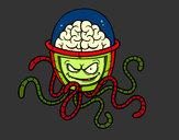 Dibujo Cerebro mecánico pintado por queyla