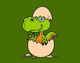 Dibujo Dino saliendo del huevo pintado por jupacocas