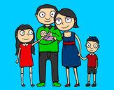 Dibujo Familia unida pintado por duart