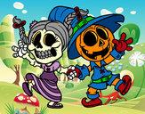 Dibujo Miércoles y Jack-o-lantern pintado por queyla