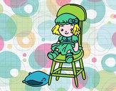 Dibujo Muñeca sentada pintado por rubielita