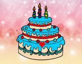 Dibujo Tarta de cumpleaños pintado por TAFFIE