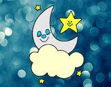Dibujo Luna y estrellas pintado por martinezna
