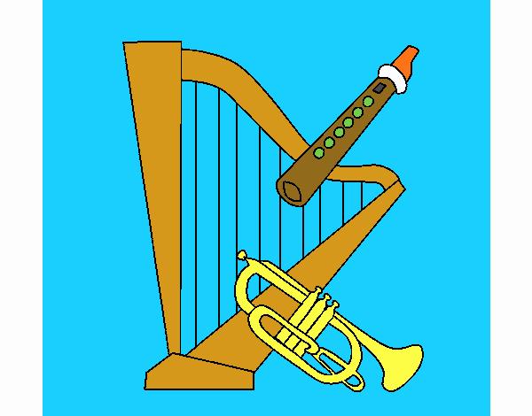 Arpa, flauta y trompeta