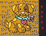 Cachorro con una flor en la boca