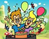 Dibujo Cumpleaños de hermanos pintado por 04102004