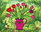 Jarrón de tulipanes