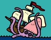 Dibujo Kraken pintado por queyla
