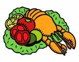 Langosta con verduras