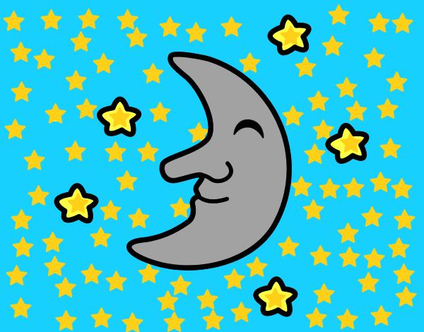 Luna con estrellas