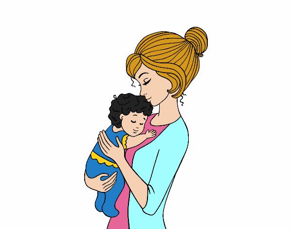 Dibujo de Madre cogiendo al bebé pintado por en Dibujos.net el día