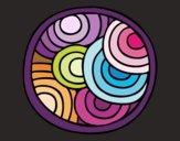Dibujo Mandala circular pintado por queyla