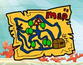 Dibujo Mapa del tesoro pintado por queyla