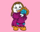 Dibujo Niña con su muñeca pintado por saliana