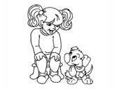 Niña con su perrito