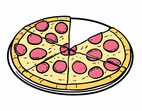 Dibujo de Pizza de pepperoni pintado por en Dibujosnet el da 18