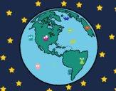 Dibujo Planeta Tierra 1 pintado por audora