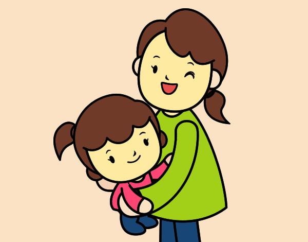 Dibujo de Abrazo con mam pintado por en Dibujosnet el da 2204