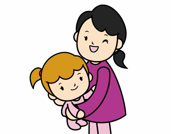 Dibujo De Abrazo Con Mamá Pintado Por En Dibujos.net El