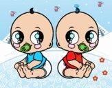 Dibujo Bebés gemelos pintado por karenivan