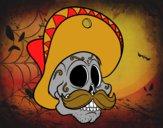 Dibujo Calavera mejicana con bigote pintado por marfor