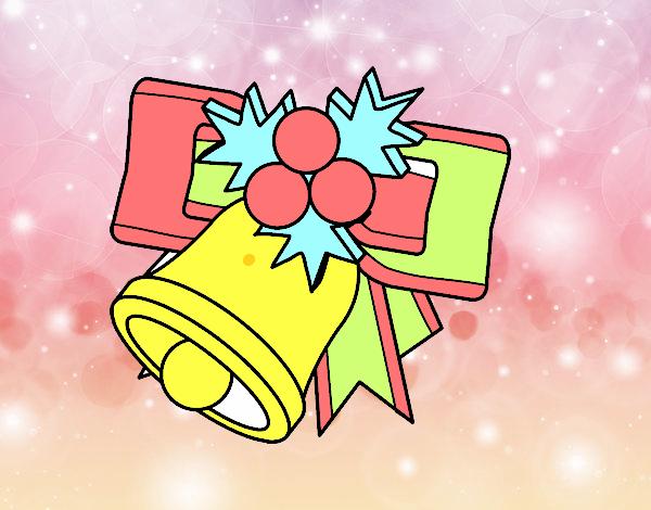 Dibujo de campana de navidad con bolas pintado por en for Dibujos de navidad pintados