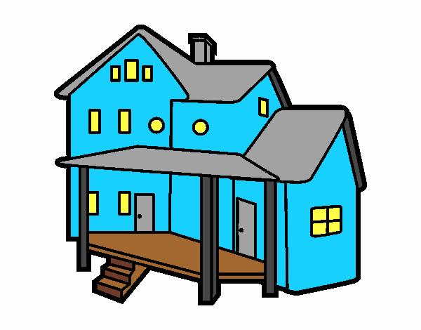 Dibujo de casa con porche pintado por en el for Imagen de lavaderos para casas